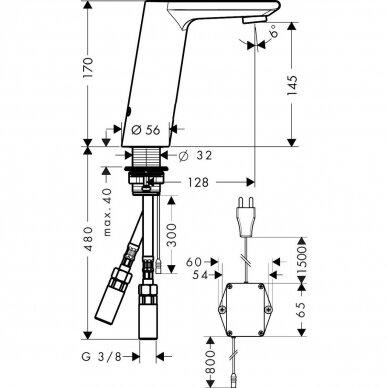 Praustuvo maišytuvas Hansgrohe Metris S sensorinis 2