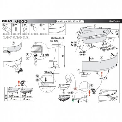 Priekinis uždengimas voniai Riho Lyra 2