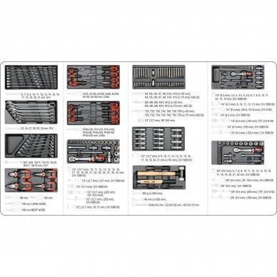 Profesionali įrankių spintelė Yato su 177 įrankiais, 6 stalčiais (YT-55300) 6