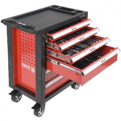 Profesionali įrankių spintelė Yato su 177 įrankiais, 6 stalčiais (YT-55300)