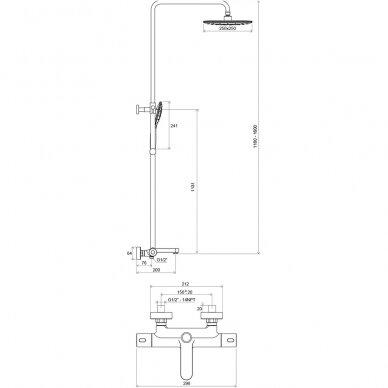 Pusapvalė dušo kabina Ravak Blix Slim BLSCP4 90 cm ir Termo 300 6