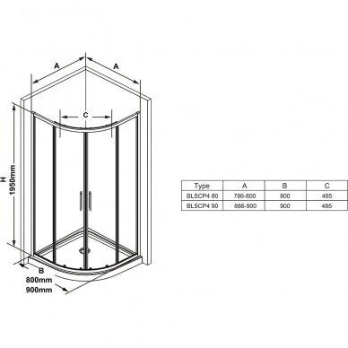 Pusapvalė dušo kabina Ravak Blix Slim BLSCP4 90 cm ir Termo 300 2