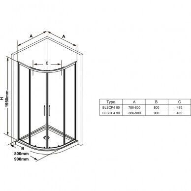 Pusapvalė dušo kabina Ravak Blix Slim BLSCP4 80, 90 cm 3