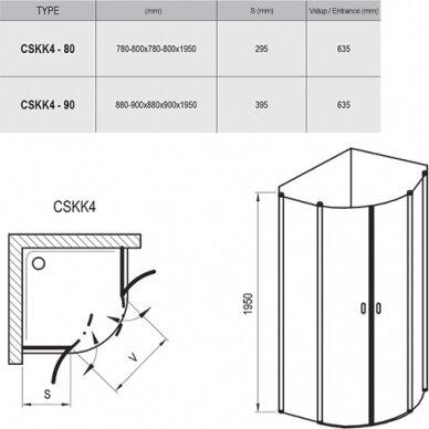 Pusapvalė dušo kabina Ravak Chrome CSKK4 80, 90 cm 3