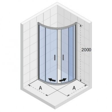 Pusapvalė dušo kabina Riho Hamar 2.0 80, 90, 100 cm 2