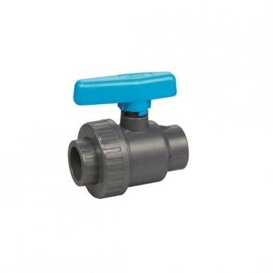 """PVC ventilis 2"""" vidinis sriegis su mėlyna rank."""