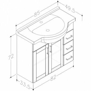 Vonios baldų komplektas Eternal 85 3 dalių 11