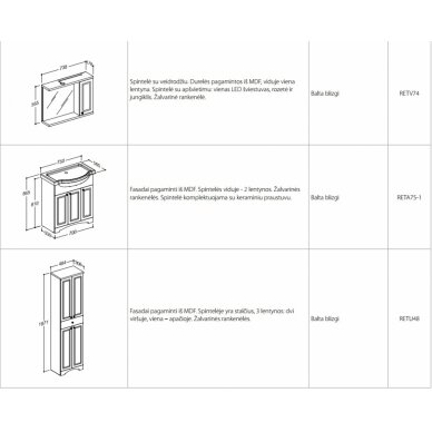 Vonios baldų komplektas Retro 6