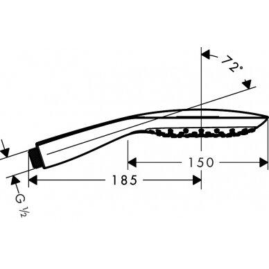 Rankinė dušo galva Hansgrohe Raindance Select E 150 3 jet 4