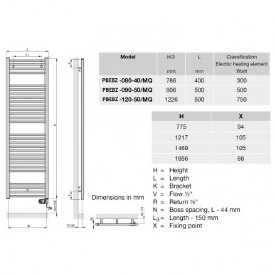Rankšluoščių džiovintuvas Zehnder Aura, 80, 90, 120, 150 cm 7