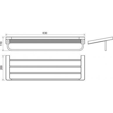 Rankšluosčių laikiklis su lentynėle Ravak, 63 cm 2