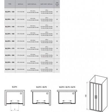 Dušo durys Ravak Blix BLDP4 120, 130, 140, 160, 170, 180, 190, 200 cm 7