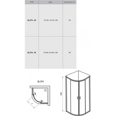 Dušo kabina Ravak Blix BLCP4 90 cm ir dušo sistema Termo 300 5