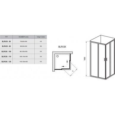 Dušo kabina Ravak BLRV2K-100/110/120 cm + BLRV2K-80/90/100 cm 6