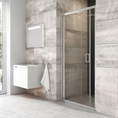 Dušo kabinos komplektas Ravak 80, 90 cm: durys Blix BLDZ2 + stacionari sienelė BLPSZ 2