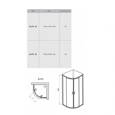 Komplektas: dušo kabina Ravak Blix BLCP4-90 + padėklas + sifonas 8