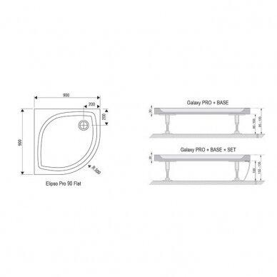 Komplektas: dušo kabina Ravak Blix BLCP4-90 + padėklas + sifonas 9