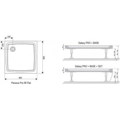 Dušo komplektas: kabina Ravak PDOP1 80, 90 cm + PPS + padėklas + sifonas + apdaila + kojos 7