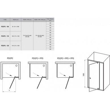 Dušo komplektas: kabina Ravak PDOP1 80, 90 cm + PPS + padėklas + sifonas + apdaila + kojos 6