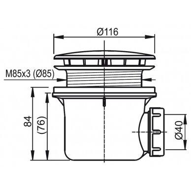 Dušo komplektas: kabina Ravak PDOP1 80, 90 cm + PPS + padėklas + sifonas + apdaila + kojos 8