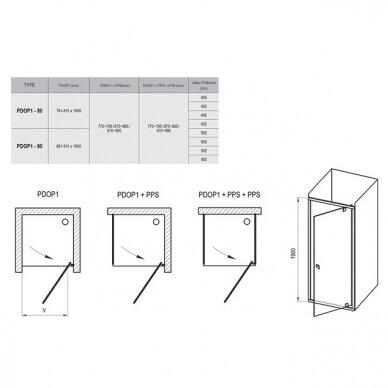 Dušo komplektas: kabina Ravak Pivot PDOP2-100 + sienelė PPS-100 + padėklas + sifonas + apdaila + kojos 6