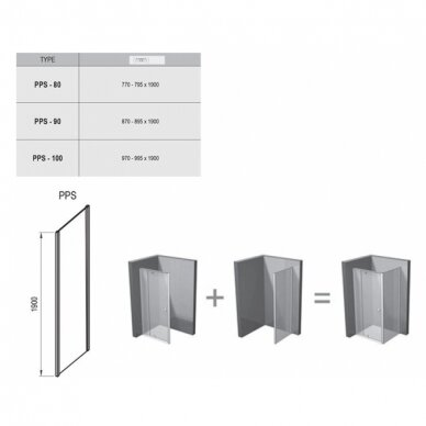 Dušo komplektas: kabina Ravak Pivot PDOP2-100 + sienelė PPS-100 + padėklas + sifonas 7