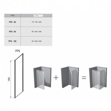 Dušo komplektas: kabina Ravak Pivot PDOP2-100 + sienelė PPS-100 + padėklas + sifonas + apdaila + kojos 7