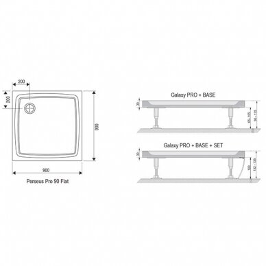 Dušo komplektas: kabina Ravak Pivot PDOP2-100 ir sienelė PPS-100 su padėklu ir sifonu 8