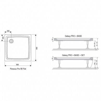 Dušo komplektas: kabina Ravak Pivot PDOP2-100 + sienelė PPS-100 + padėklas + sifonas + apdaila + kojos 8
