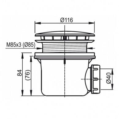 Dušo komplektas: kabina Ravak Pivot PDOP2-100 + sienelė PPS-100 + padėklas + sifonas 9