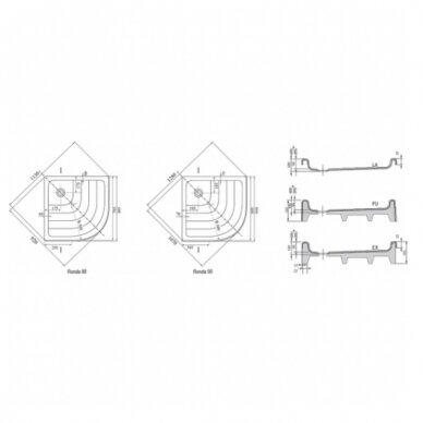 Komplektas: dušo kabina Ravak SKCP4 80, 90 cm su padėklu ir sifonu 9