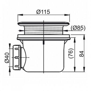 Komplektas: dušo kabina Ravak SKCP4 80, 90 cm su padėklu ir sifonu 10