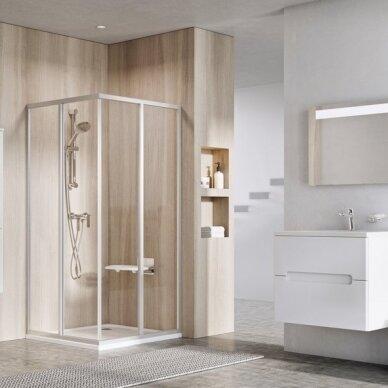 Ravak dušo komplektas: kabina SRV2-75S+ SRV2-90S + padėklas + sifonas 2