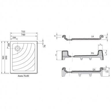 Ravak dušo komplektas: kabina SRV2-75S+ SRV2-90S + padėklas + sifonas 9