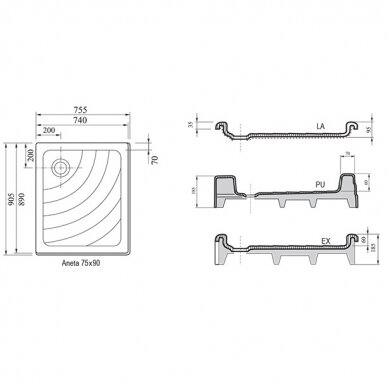 Dušo komplektas: kabina Ravak SRV2-S 75x90 cm su padėklu ir sifonu 9