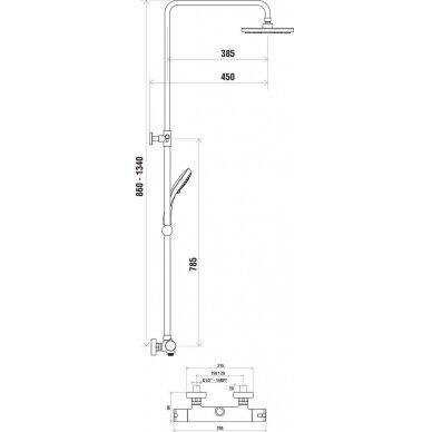 Dušo stovas Ravak su termostatiniu maišytuvu 2