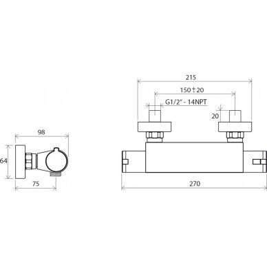 Sieninis termostatinis dušo maišytuvas Ravak 150 mm 3