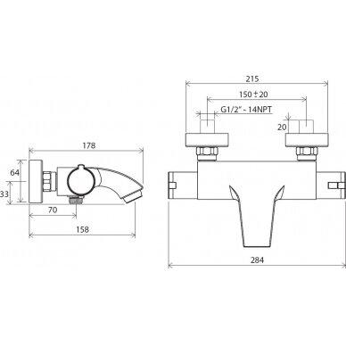 Termostatinis vonios maišytuvas Ravak 150 mm 4