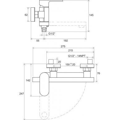 Ravak sieninis vonios/dušo maišytuvas Chrome 150 mm (kairinis) 6