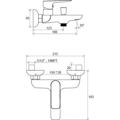 Vonios/dušo maišytuvas Ravak Classic 150 mm 4