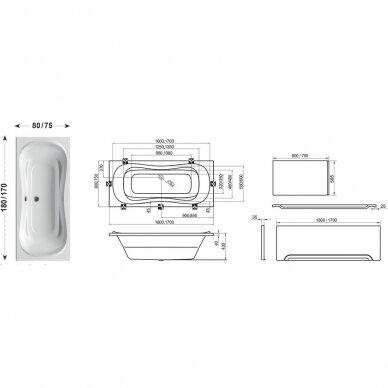 Ravak vonios komplektas: vonia Campanula II 170 cm 3
