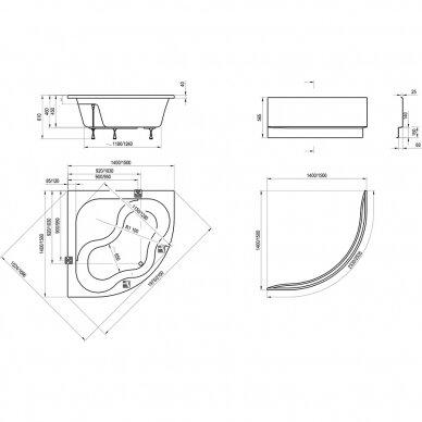 Vonios komplektas Ravak : vonia Gentiana 140 cm 4