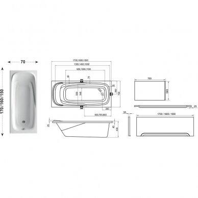 Ravak vonios komplektas: vonia Vanda II 150 cm 5