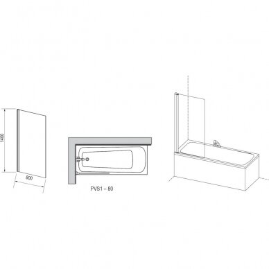 Vonios sienelė Ravak PVS1 80 cm 3