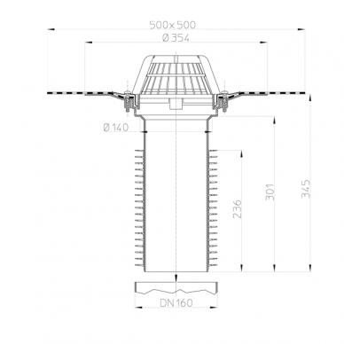 Renovacinė įlaja HL69H/5 DN160 su bituminiu flanšu 2