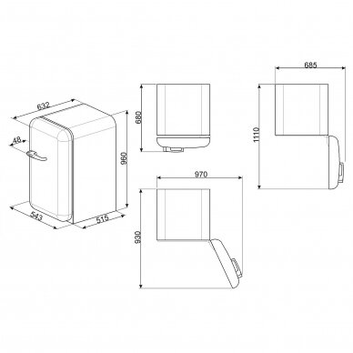 Šaldytuvas - minibaras  SMEG FAB10HRCR5 4
