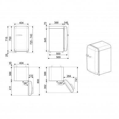 Šaldytuvas - minibaras SMEG FAB5RCR5 3