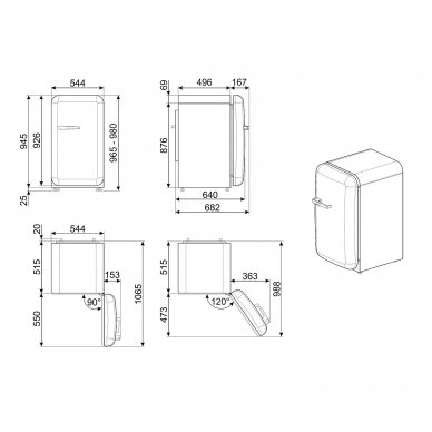 Šaldytuvas SMEG FAB10RPB5 3