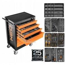 Serviso įrankių vežimėlis Neo 84-221+G, 6 stalčiai + 149 vnt