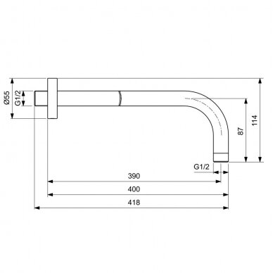Sieninė alkūnė dušo galvai Ideal Standard Idealrain 2